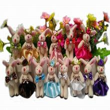 15pair  8cm Plush wedding rabbit couple jointed plush stuffed doll bouquet toy wholesale 30pcs/lot,jointed rabbit,Easter gift t