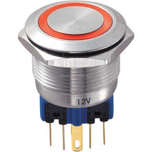 22mm 6V 12V 24V 36V 110V 220V Red LED Ring Illumination Push Button Switch with 6 pin Terminal