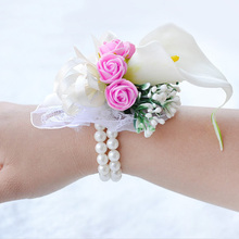Hot Selling Festival Supplies Wedding Corsages Wrist Flower Decorative Flower Party Prom Ribbon Corsage