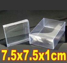 50PCS/LOT  7.5x7.5x1cm  PVC Transparent Plastic Boxes Electronic Toys Gift Packaging Storage Case