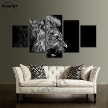 5 Panel Wall Art Animal Canvas Prints Picture Black and White Lion Painting Framed Picture for Living Room