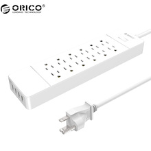 ORICO USP-12A4U Power Strip 4 Ports USB Power Strip 12 AC Outlets Dual in-line Charging Strip Surge Protection
