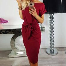 Buy 2018 Women Dress Round Neck Short Sleeve Vestidos Knee Length Elegant Pencil Dress Pocket Office Ladies Dress WS5815C for $10.79 in AliExpress store