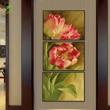 Modern Art Oil Paint Modular Canvas Painting Tulip Flower Pictures Framed Canvas Prints Art Decorative Poster For Living Room