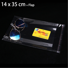 400pcs 14 x 35 cm Crystal Clear Packaging Bag Transparent Self Adhesive Seal Poly Plastic Bags Gift Pouches