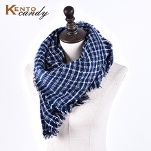 [KentoCandy] Plaid winter scarf women luxury brand ponchos and capes 2016 echarpe hiver femme kwasten fashion warm scarves shawl
