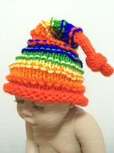 Free shipping,Newborn Photography Props Handmade Rainbow Elf Pixie Hats Caps POM POM. Beanies For Baby Boy Girl