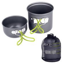 HIINST Outdoor Aluminum Pots Pans Bowls & Foldable Handle Camping Cookware Sets Hiking Picnic Cooking non-stick Cookware Gifts
