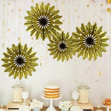 2pc 30cm Gold Metallic Fan Paper Fan Hanging Decorartions Paper Rosettes Backdrop Birthday Bridal Showers Weddings Anniversaries(China)