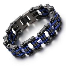 16mm Heavy Black blue Bike Bicycle Motorcycle Chain Stainless Steel Biker Bracelet Bangle Jewlery Men's Holiday Gifts 8.66''