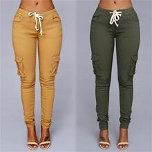 New Free Shipping casual pants Europe style casual pants ladies multi-bag casual pants high elastic leisure pants