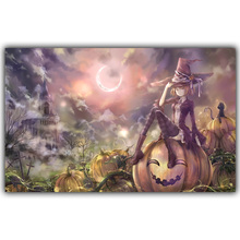 Halloween Poster Pumpkins, Black Cat, Witch's Broom Modern Cartoon Art Picture For Home Decoration Silk Poster and Prints QT076