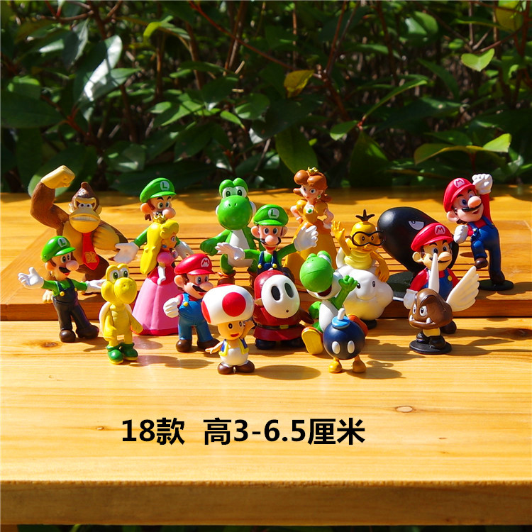 18pcs/ Set Doll Mario Classic Small Plastic Decoraction Model<br>