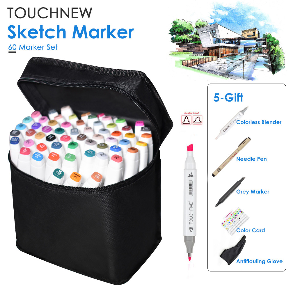 60 Color TOUCHNEW Graphic Touch Marker Pen Set Sketch Art Markers Alcohol Based Art Pens Drawing Supplies With 5 Gifts(China)