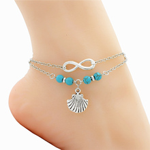 Fashion Antique Silver Sea Shell Charm Seashell Pendant Infinity Anklets for Women Shoe Boot Chain Ankle Bracelet Foot Jewelry