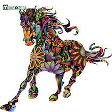 Maruoxuan Abstract Design Decorative Wall Decal Colorful Flower Pattern Pentium Horse Wall Stickers For Kids Rooms Decoration(China)