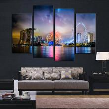 Fascinating High-quality 4 Pieces  Modular Pictures Printed  CanvasSet The River At Night Landscape  Sky Wheel Room Decoration