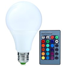 Factory Directly Supply E27 10W 1000LM 85-265V LED Bulb Dimmable Colorful RGB 16 Colors Light with IR Remote-Controlled