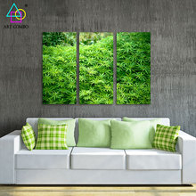 3 Pieces Fresh Landscape Canvas Painting Green Plants Artwork Home Wall Hanging Decor Spray Picture for Living Room 3T053