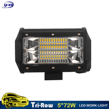 Tri Row LED Light Bar 5 Inch 72w LED Work Light Offroad LED Driving Light Bar 12v 24V for Truck SUV ATV UTV 4WD 4x4 Led Bar