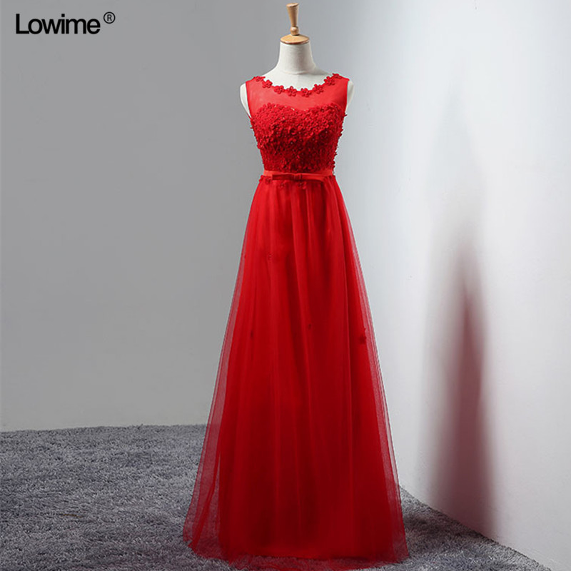 Cheap Wholesale A-Line Scoop Long Evening Dresses 2018 Sleeveless Pearls Flower Women Prom Party Dress In Stock(China)