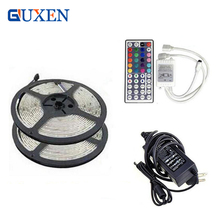10M RGB 5050 led strip waterproof 2*5m/roll SMD strip lighting +44 key IR remote controller +DC12V 5A Power Adapter(China)