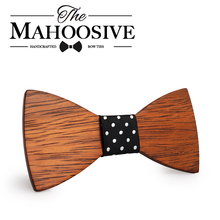 Mahoosive Gravata Plaid Wood Wooden Bow Tie For Man Wedding Butterfly Design Necktie for Wedding Groom(China)