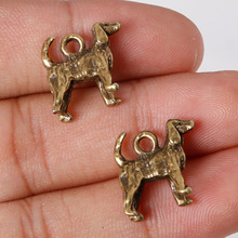 Hot Selling 6pcs/lot 14*14mm Antique Bronze Plated Charms Dog Pendants Zinc Alloy Charms Jewelry Findings For DIY(China)