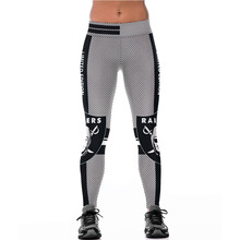 Unisex NFL Team Oakland Raiders Logo Fitness Leggings Elastic Fiber Hiphop Party Cheerleader Rooter Pants Workout Trousers