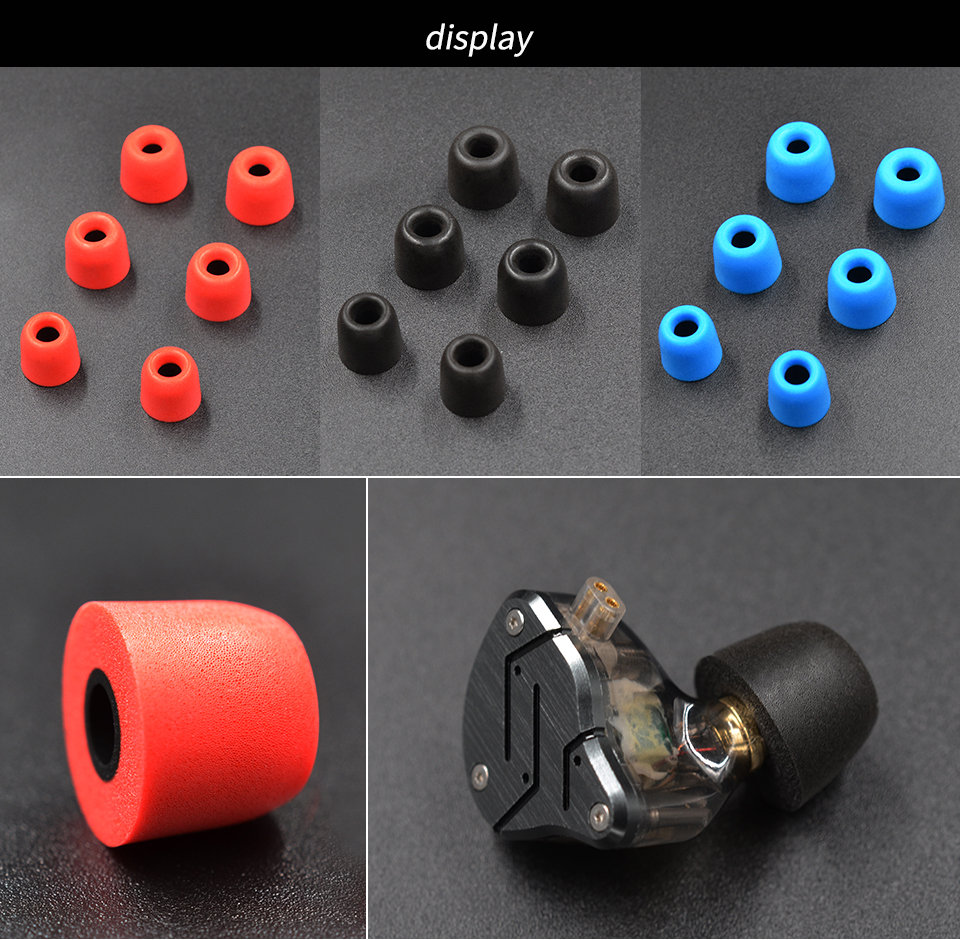 KZ_New_Upgrade_Original_3Pair_(6pcs)_Noise_Isolating_Comfortble_Memory_Foam_Ear_Tips_Ear_Pads_Earbuds_For_In_Earphone_Headphones_Red_Blue (10)