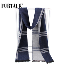 FURTALK 2017 new winter men silk plaid scarf warm knitted male scarves luxury brand bandana(China)