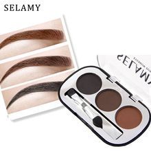 3 Colors Waterproof Pigments Eyes Makeup Eyebrow Powder Palette with Brush Black Brown Minerals Eye Brow Tattoo Cosmetic