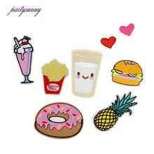 Iron On Food Embroidery Patches For Clothing Bag Shirt Phone Shell Patch Badges Stickers Custom Cute Patches Applique TB003(China)