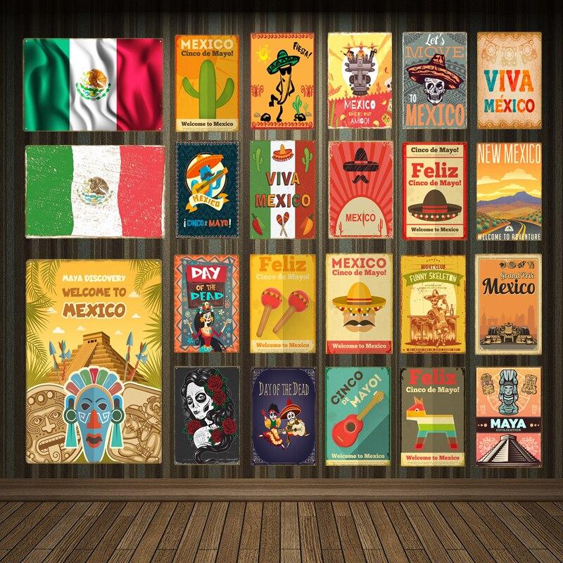 Cinco de Mayo mexicain Métal Tin Signe Affiche Plaque Murale