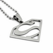 10 piece/lot Superman Necklaces Men Women Stainless Steel Pendants Ball Chain Jewelry Accessories Silver Charm Choker(China)