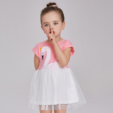 Baby Girl Summer Dress Girls Cute Pink Swan Pattern Dresses Girl's Casual Dress New Fashion 2017 Children's Clothing