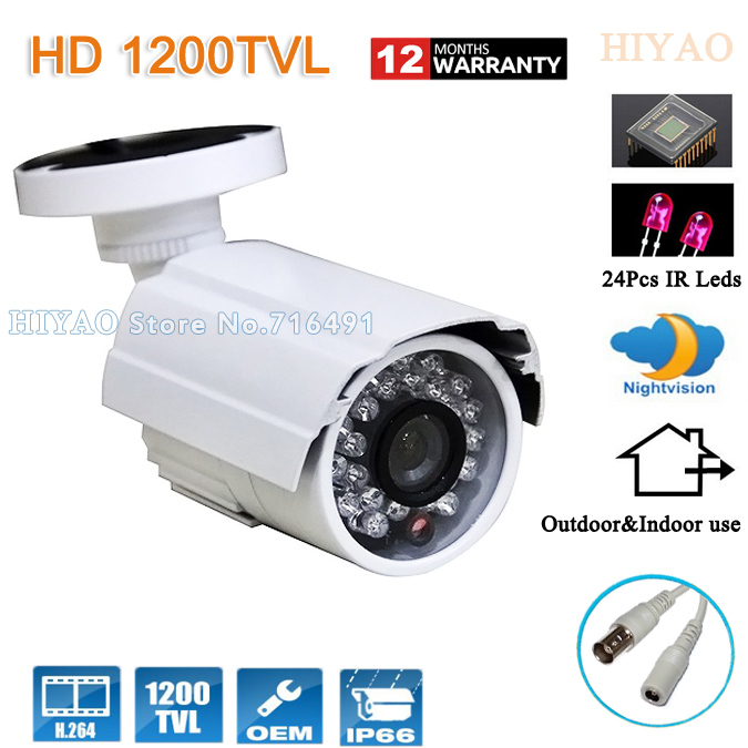 Free shipping 1200TVL CMOS 960H 24pcs IR leds Day/night waterproof indoor / outdoor CCTV camera with bracket<br>