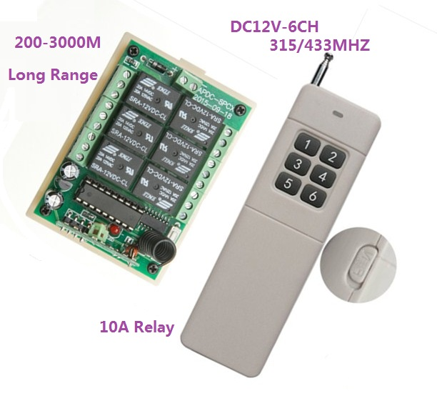 3000m Long Range DC12V 6CH Radio Controller RF Wireless Remote Control Switch 315/433 Transmitter + Receiver Remote RC TX RX<br><br>Aliexpress