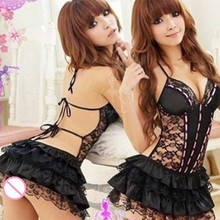 Sexy Costumes Women Erotic Lingerie Dress Set Underwear Backless Lace Clothing Sex Toys Uniform +G-string Exotic Apparel QA118(China)