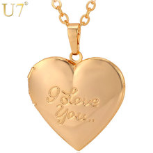 "U7 Fashion Jewelry Women Gift Silver/Gold Color Choker Chain Locket ""I Love You"" Romantic Heart Necklaces Pendants P388(China)"
