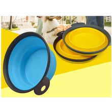 Fold Portable Silicone Pet Bowl Outdoor Camping Travel Dog Food Water Foldable Bowl Dog Frisbee Feeding Collapsible Puppy Feeder
