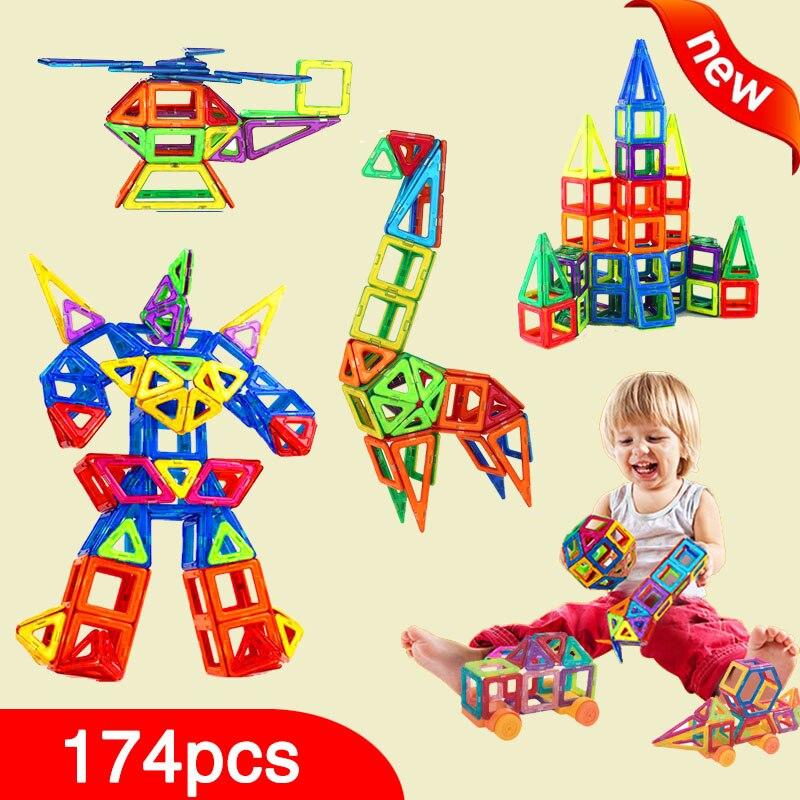 New 174pcs Mini Magnetic Designer Construction Set Model &amp; Building Toy Plastic Magnetic Blocks Educational Toys For Kids Gift<br>