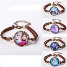 2016  Women Glass Charm Bracelet Jewelry Fashion Cute Cartoon Leather Bracelet Bangles Gift For Children