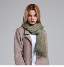 Autumn and winter plain scarf shawl female scarf art solid color large square scarf wild scarf(China)