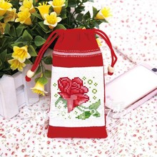 Cross Stitch Mobile Phone Coin MP3 MP4 Bag Rose