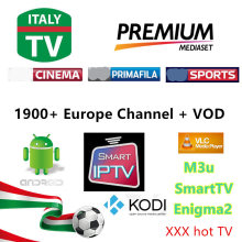 Europe Italy UK Germany Spain IPTV 2000+ Live TV M3U VLC Smart TV ENIGAM2 MAG250 Androd IPTV Italia MEDIASET PREMIUM USB Wifi