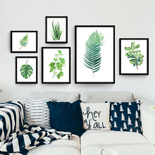 Modern Canvas Art Print Poster Canvas Oil Painting by Numbers Green leaves print Wall Pictures for Living Room