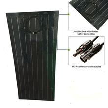 100w new material production of black semi-flexible solar panel(China)