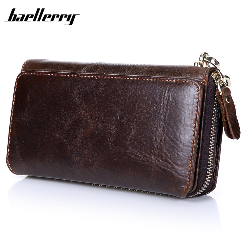 Baellerry Men Wallets Handy Bag Luxury Zipper Coin Pocket Phone Bags Male Clutch Genuine Leather Wallet Business carteira 19cm<br>