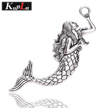 Kupla 5 Color Mermaid Charms Metal Big Beautiful Mermaid Charms Jewelry Handmade Charms Jewelry Making 10pcs/lot 23*76mm C8545(China)